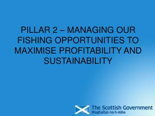 PILLAR 2 – MANAGING OUR FISHING OPPORTUNITIES TO MAXIMISE PROFITABILITY AND SUSTAINABILITY