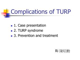 Complications of TURP