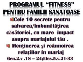 """PROGRAMUL  """"FITNESS"""" PENTRU FAMILII SANATOASE"""