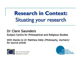 Research in Context: Situating your research