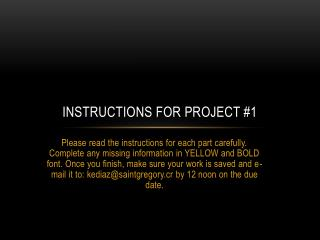 instructions for project #1