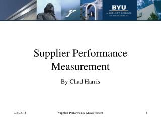 Supplier Performance Measurement
