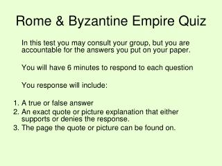 Rome & Byzantine Empire Quiz