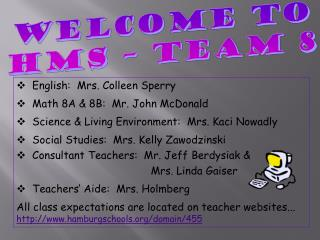 Welcome to HMS – TEAM 8