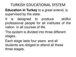TURKISH EDUCATIONAL SYSTEM
