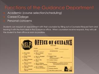 Functions of the Guidance Department