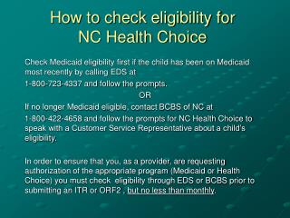 How to check eligibility for  NC Health Choice