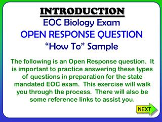 "EOC Biology Exam OPEN RESPONSE QUESTION ""How To"" Sample"