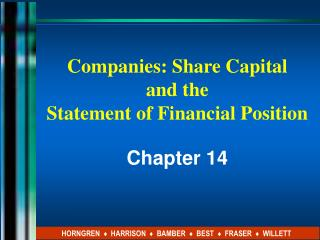 Companies: Share Capital  and the  Statement of Financial Position