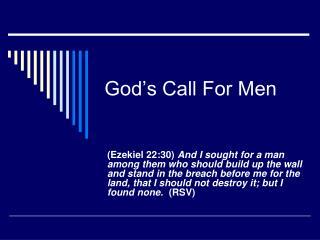 God's Call For Men