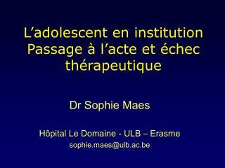 L'adolescent en institution Passage à l'acte et échec thérapeutique