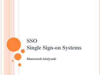 SSO Single Sign-on Systems