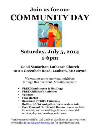 Join us for our COMMUNITY DAY