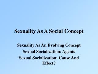 Sexuality As A Social Concept