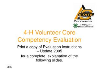 4-H Volunteer Core Competency Evaluation