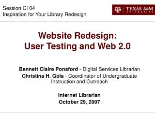 Website Redesign:  User Testing and Web 2.0