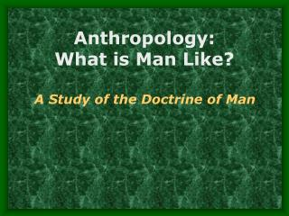 Anthropology:   What is Man Like?