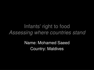 Infants' right to food  Assessing where countries stand