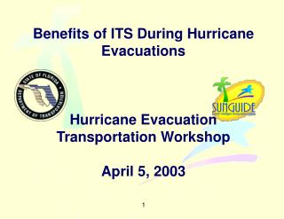 Benefits of ITS During Hurricane Evacuations      Hurricane Evacuation Transportation Workshop  April 5, 2003