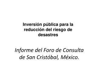 Informe del Foro de Consulta de San Cristóbal, México.