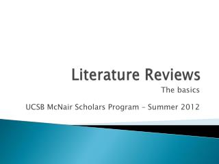 Literature Reviews