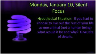 Monday, January 10, Silent Focus