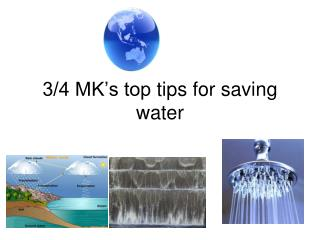 3/4 MK's top  tips  for saving water