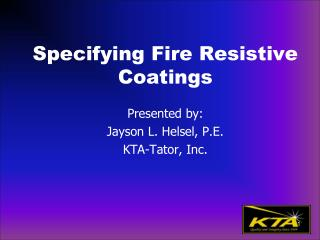 Specifying Fire Resistive Coatings
