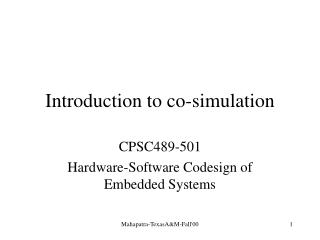 Introduction to co-simulation