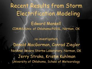 Recent Results from Storm Electrification Modeling