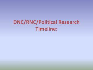 DNC/RNC/Political  Research Timeline: