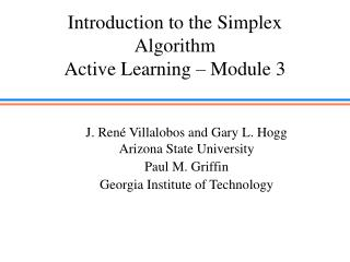 Introduction to the Simplex Algorithm Active Learning � Module 3