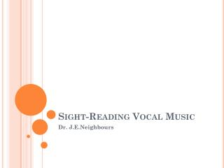 Sight-Reading Vocal Music