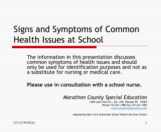 Signs and Symptoms of Common Health Issues at School