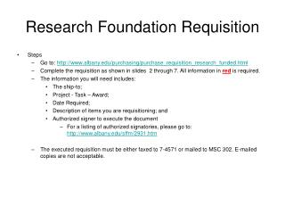 Research Foundation Requisition