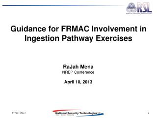 Guidance for FRMAC Involvement in Ingestion Pathway Exercises