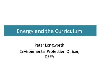 Energy and the Curriculum