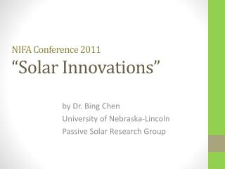 "NIFA Conference 2011 ""Solar Innovations"""