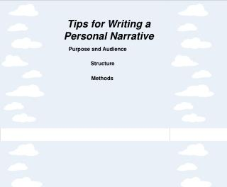 Tips for Writing a Personal Narrative