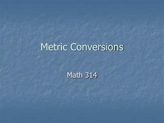 Metric Conversions