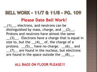 Bell Work  – 11/7 & 11/8  – Pg. 109