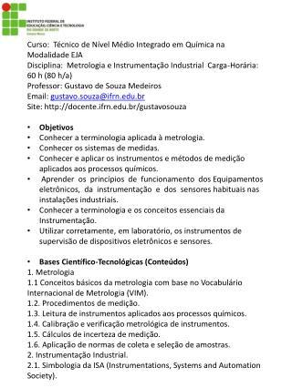 Curso:  Técnico de Nível Médio Integrado em Química na Modalidade EJA