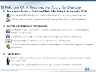 El  Reto  con Citrix Receiver,  XenApp  y  XenDesktop