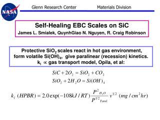 Self-Healing EBC Scales on SiC James L. Smialek, QuynhGiao N. Nguyen, R. Craig Robinson