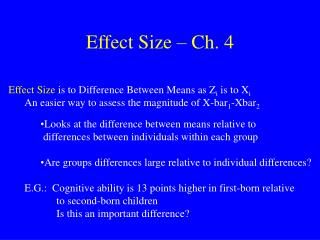 Effect Size – Ch. 4