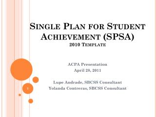 Single Plan for Student Achievement (SPSA ) 2010 Template