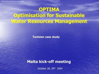 OPTIMA  Optimisation for Sustainable Water Resources Management