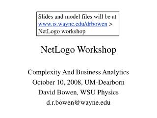 NetLogo Workshop