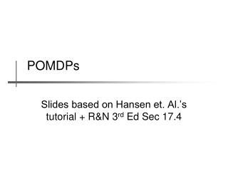 POMDPs