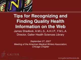 Tips for Recognizing and Finding Quality Health Information on the Web